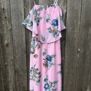 NWT City Triangles Strapless Pink Floral Dress